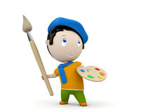 Artist at work! Social 3D characters. Painter with brush and palette wearing beret and scarf. New constantly growing collection of expressive unique multiuse Royalty Free Stock Images
