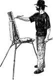 Artist at work vector illustration