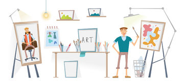 The artist working in his Studio. The man with the brush standing at the easel. Vector illustration. The artist working in his Studio. Young man with the brush Royalty Free Stock Image