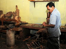 The artist from the workshop of Kandy. Stock Photos