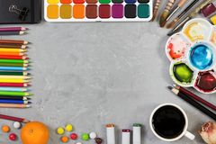 Artist workspace on gray stone background. Top view. Mock up Royalty Free Stock Photography