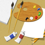 Artist workspace.  illustration. Artist workspace canvas, oil, brushes and pallete on wooden table.  illustration Royalty Free Stock Photo