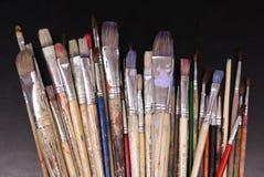 Artista Bien-usado Paintbrushes Foto de archivo libre de regalías
