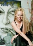 Artista bonito no estúdio Imagem de Stock Royalty Free