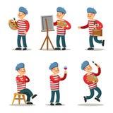 Artista Cartoon Character Set Pittore con la tavolozza Fotografia Stock Libera da Diritti