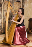 Artista da harpa Imagens de Stock Royalty Free