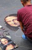 Artista da rua que pinta o Monalisa em Florença Fotos de Stock Royalty Free