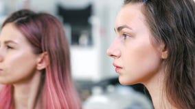 Artista de composição fêmea profissional da vista lateral que fazem o contorno com pó ou corretor que usa a escova video estoque