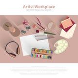 Artista de escritorio del lugar de trabajo, pintor, concepto de la opinión superior del diseñador vacío Plantilla plana del estil libre illustration
