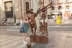 Artista de la calle en Ramblas en Barcelona Fotos de archivo libres de regalías