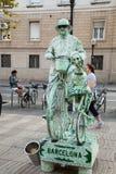 Artista de la calle en Ramblas en Barcelona Fotografía de archivo