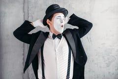 Artista de la pantomima con la máscara del maquillaje, día de los inocentes Imagen de archivo libre de regalías