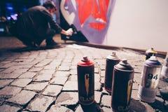 Artista de la pintada de la calle Imagen de archivo