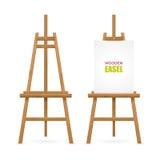 Artista de madera Easel Set stock de ilustración