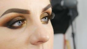 Artista de maquillaje principal aplicar ojos ahumados de oro del maquillaje profesional en salón de belleza a un modelo gordo de  almacen de video