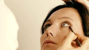 Artista de maquillaje que aplica maquillaje en la cara modelo del ` s metrajes