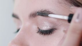Artista de maquillaje que aplica maquillaje de la pestaña al ojo modelo del ` s Ciérrese encima de la visión almacen de video