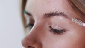 Artista de maquillaje que aplica maquillaje de la pestaña al ojo modelo del ` s Ciérrese encima de la visión metrajes