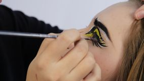 Artista de maquillaje que hace maquillaje cómico profesional del arte pop Maquillaje de la historieta divertida o de la historiet almacen de video