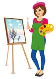 Artista de sexo femenino del pintor que sostiene la paleta y el cepillo stock de ilustración