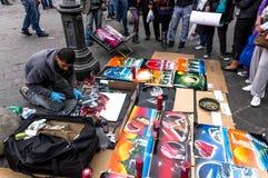 Artista della pittura di spruzzo Fotografie Stock Libere da Diritti