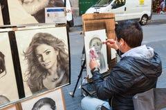 Artista della via del Las Ramblas Immagini Stock Libere da Diritti