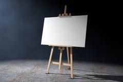 Artista di legno Easel con derisione di bianco su tela e sulla tavolozza 3d con riferimento a Immagini Stock