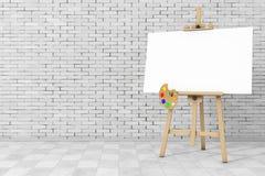 Artista di legno Easel con derisione di bianco su tela e sulla tavolozza 3d con riferimento a Fotografia Stock Libera da Diritti