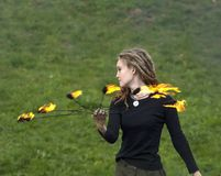 Artista do teatro do incêndio Fotos de Stock Royalty Free