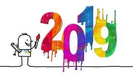 Artista e número 2019 colorido fresco ilustração stock
