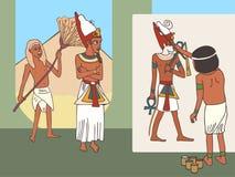 Artista egiziano antico sul lavoro, fumetto divertente fotografia stock libera da diritti