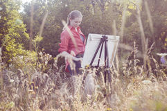 Artista en el aire llano foto de archivo libre de regalías