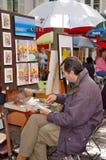 Artista en Montmartre, Francia Foto de archivo libre de regalías