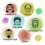 Artista famoso Icon Set stock de ilustración