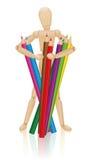 Artista Figure Colored Pencils Imagenes de archivo