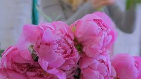 Artista floral profesional que clasifica las flores en el estudio almacen de video