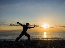 Artista marcial com por do sol alaranjado Silhueta de um whushu da prática do homem Estilo de vida saudável imagem de stock