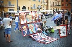 Artista na praça Navona Roma, Itália imagem de stock