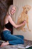 Artista pastello del ritratto Fotografie Stock