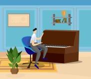 Artista Playing Grand Piano en casa o sala de clase stock de ilustración