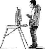 Artista que hace bosquejos Imagen de archivo libre de regalías