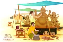 Artista que hace la estatua de Lord Ganesha stock de ilustración