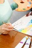Artista que pinta a paisagem japonesa Imagem de Stock