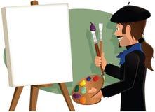 Artista que pinta uma lona vazia Fotografia de Stock Royalty Free