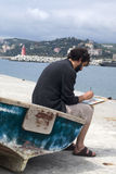 Artista que pinta un cuadro, al aire libre fotos de archivo libres de regalías