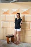 Artista que pinta una pared con un cepillo Foto de archivo libre de regalías