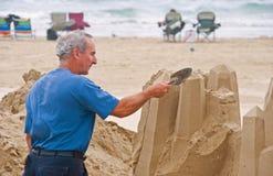 Artista que trabalha na praia Fotografia de Stock