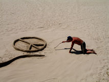 Artista sin hogar de la arena Foto de archivo
