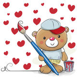Artista sveglio Teddy Bear del fumetto Fotografia Stock