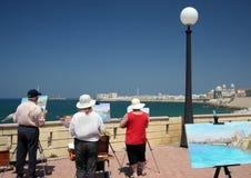 Artistas com pinturas de óleo na Espanha de Cadiz imagens de stock